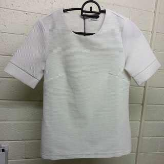 Marcs XXS/4 White Textured T Shirt Top