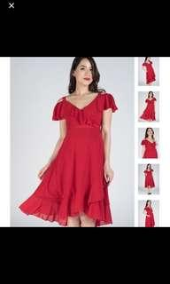 BN JEC Red Cold Shoulder Frills Nursing Wrap Dress