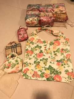 Woven vintage flower reusable bag