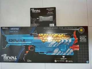 BNIB Nerf Rival Nemesis MXVII-10K Blue Color with Rival Rival Rechargeable battery pack operated fully motorized blaster with 100 high impact rounds Hasbro TRU