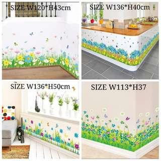 ✔INSTOCK 40 Designs. $10 Each Butterfly Flowers Green grass fence wall stickers decoration . Colourful Pencil wall stickers Kindergarten Classroom skirting line entrance corridor decoration diy home Decor