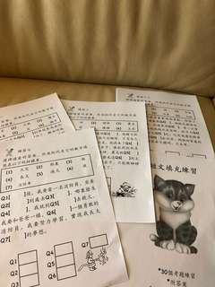 中文補充練習,小一面試扣門程度