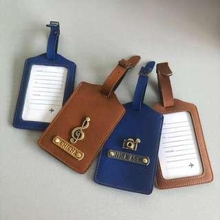 CHRISTMAS GIFT Luggage Tags Bag Safe Accessories School Customised Personalised Card Case Leather Travel