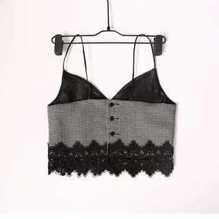 Houndstooth print and lace trim crop slip top