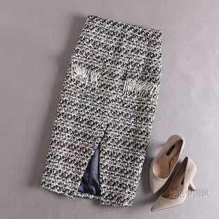 ⏳ Tweed prom and beaded fringe detail pencil skirt