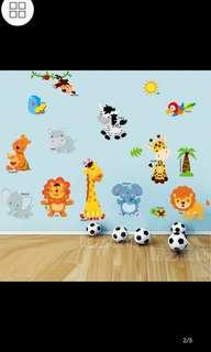 ✔Instock Children's room cartoon stickers wall stickers kids baby bedroom wall decoration cute animal self-adhesive early education stickers diy home decor