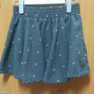 🚚 正韓 灰底粉色波點毛呢褲裙