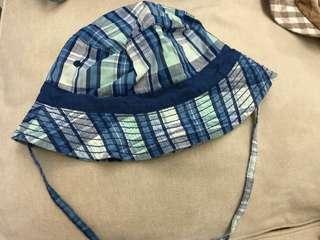全新 H&M BB帽 藍色格仔漁夫帽 12-18M