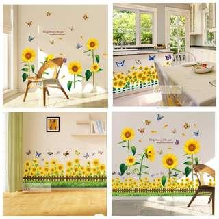 ✔( $13 Sunflower pic 8 . $10 Skirting pic 9 or 10 ) Sunflower wall stickers kindergarten layout removable wall decoration sun flower TV wall sticker self-adhesive diy home decor