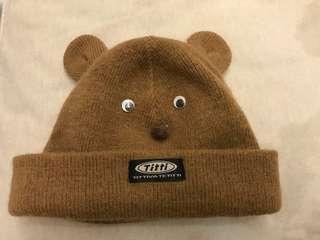 九成新 啡色可愛bb冷帽 小童冷帽 保暖