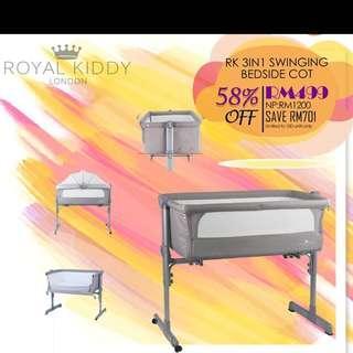 Royal kiddy London 3in1 swinging bedside cot