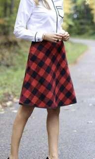 Pink tartan red plaid wool skirt size 0
