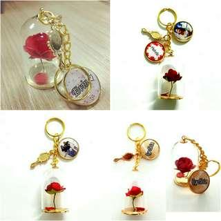 🚚 Customized beauty and the beast rose keychains