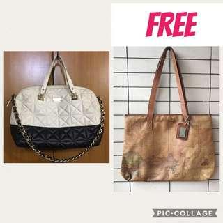 KATE SPADE QUILTED IVORY BLACK WITH FREE ALVIERO MARTINI PRIMA CLASSETOTE