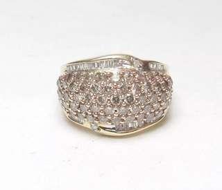 Exquisite 10K Yellow Rose Gold White Baguette Cognac Brilliant Diamond Ring 1.5TCW