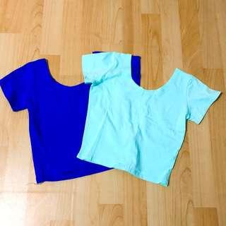 轉賣Doris shop短袖上衣 寶藍 薄荷綠 短版T恤 合身t