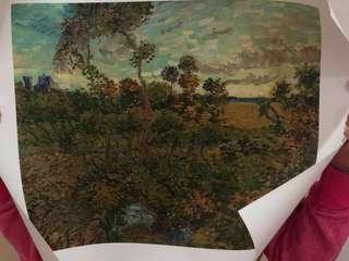 Oil on Canvas (Vincent Van Gogh) sunset at mont manjour