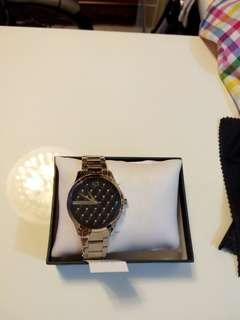 A/X 手錶 A|X Armani Exchange Lady (女)菱格紋晶鑽腕錶 - 黑 36mm
