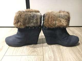 ASH leather wedge boot with rabbit fur