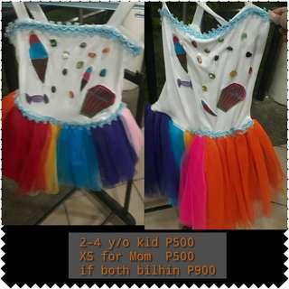 Custome dress for girl 3-4 y/o and mom xs