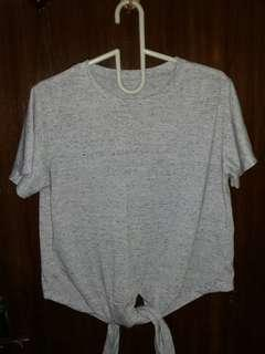 Kaos Crop Pita Abu Grey