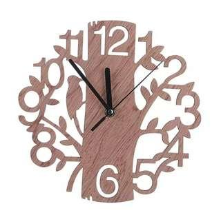 Modern 3D Wooden Tree & Bird Wall Clock Analog