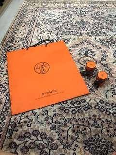 Hermes Large Paper Bag and small round boxes