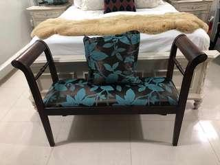Teakwood new upholstery bed end bench