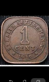 1920 Straits Settlements Coin (Read description)