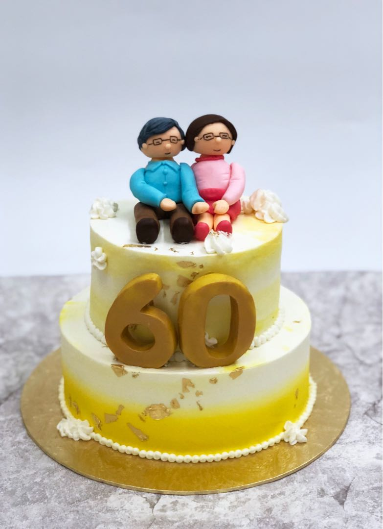 60th Birthday Cake Couple Food Drinks Beverages On Carousell