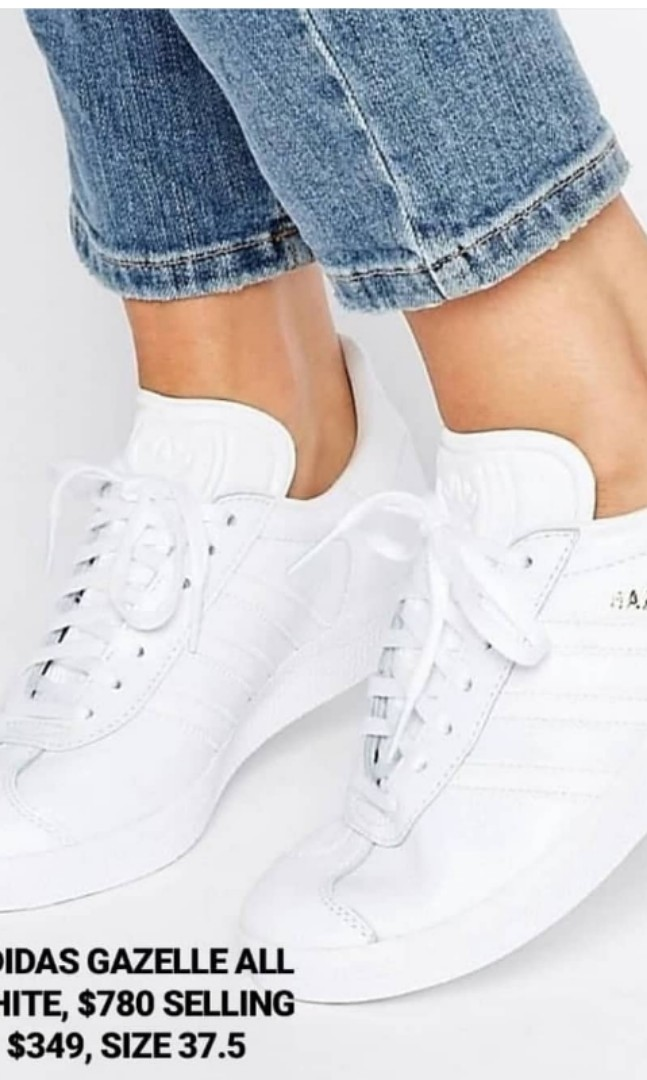 45f4c7d613 Adidas White Gazelle, Women's Fashion, Shoes, Sneakers on Carousell
