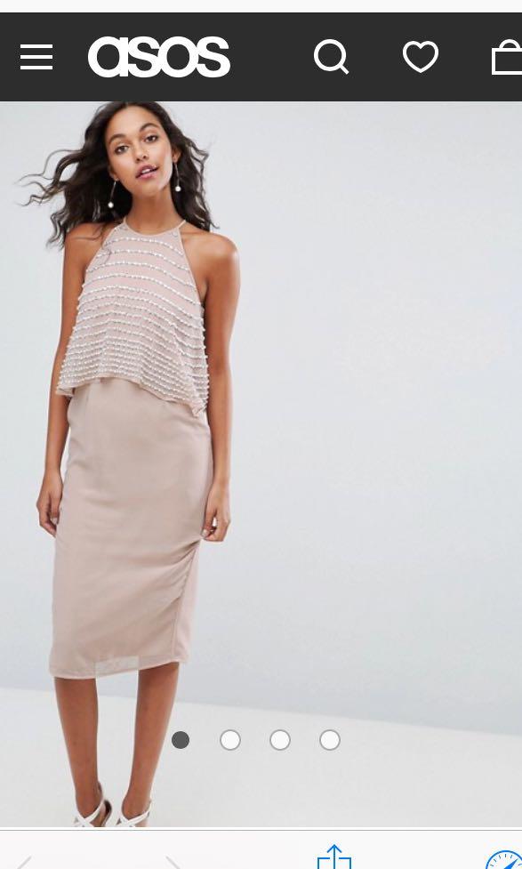 febd0211c9bde3 ASOS Pearl Embellished Crop Top Midi Dress