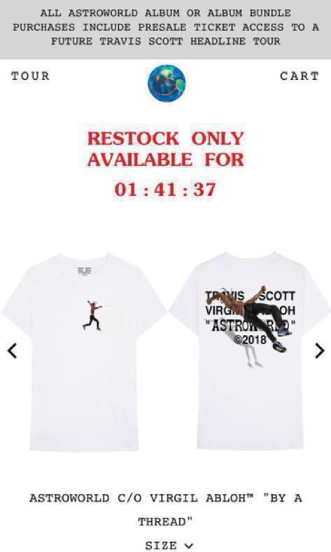 """989d90391e51 Astro world C/O Virgil Abloh """" BY a Thread """", Men's Fashion, Clothes, Tops  on Carousell"""