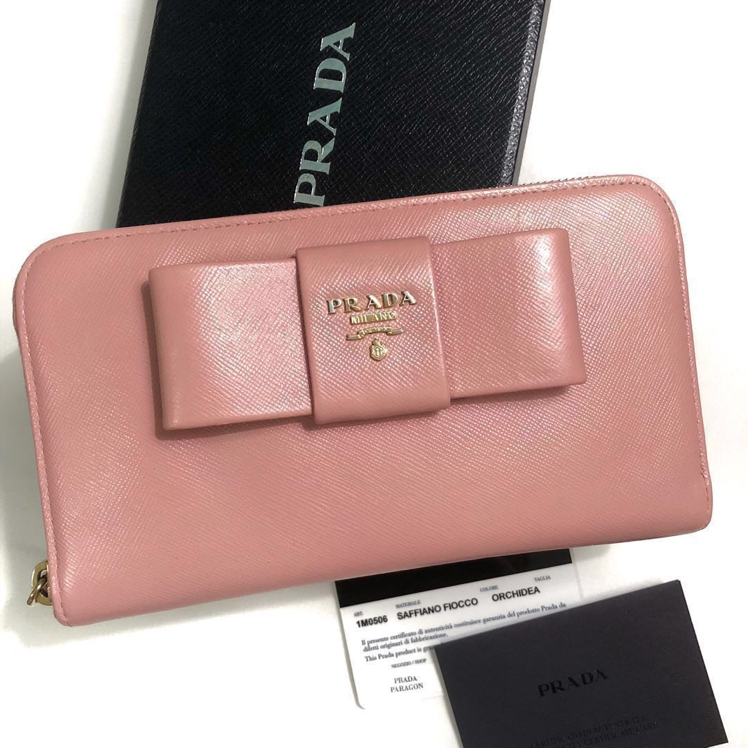 2b3bc591b1f579 Authentic Prada Saffiano Bow Zip Around Leather Wallet, Luxury ...