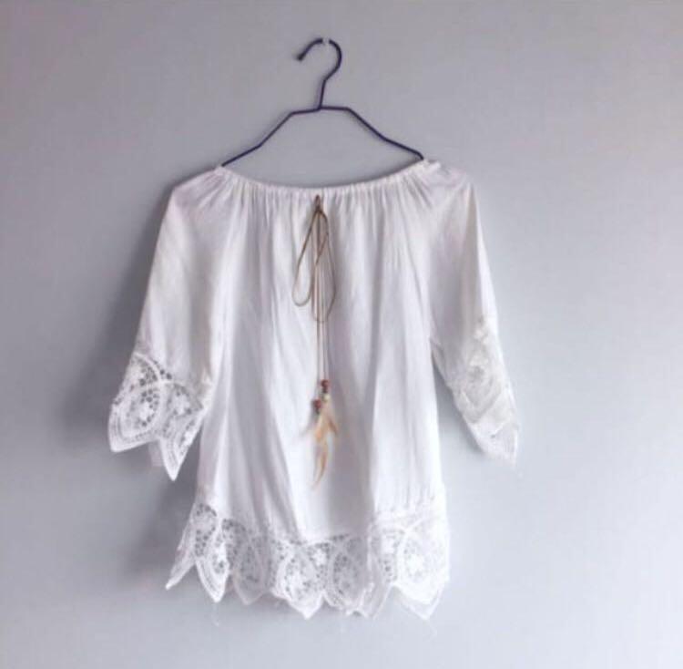 be2a8a464f9a02 BN white lace crochet off shoulder top, Women's Fashion, Clothes ...