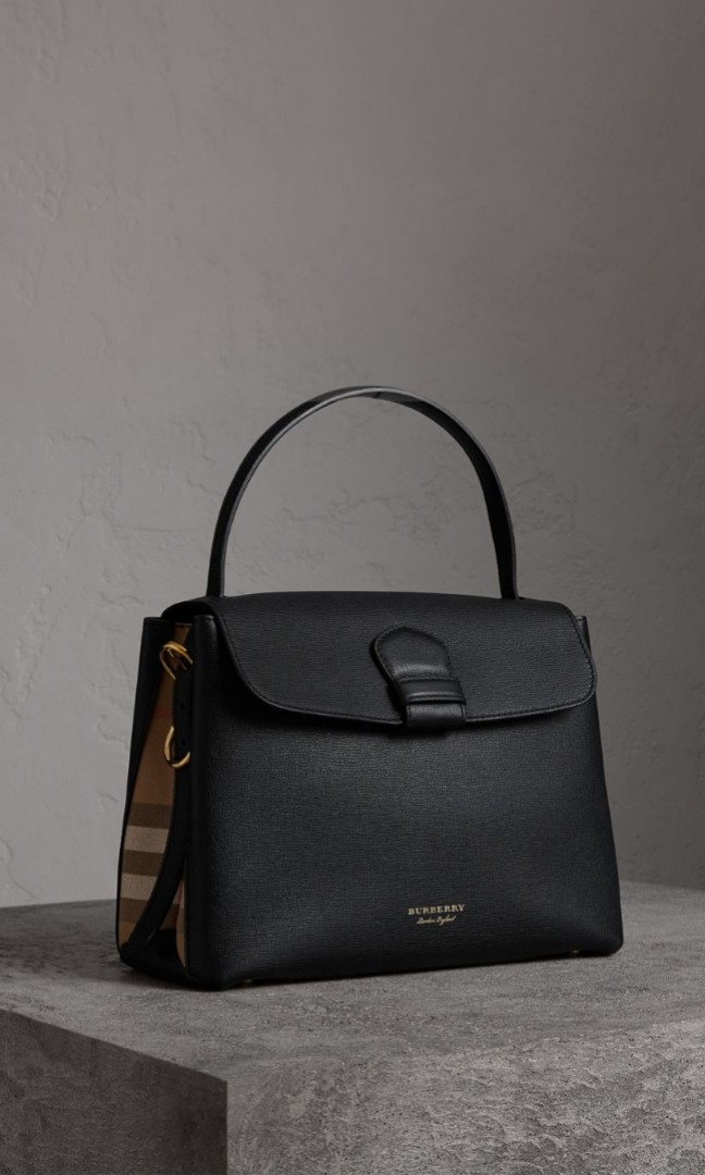 Burberry Medium Grainy Leather and House Check Tote Bag cd588b9a24847