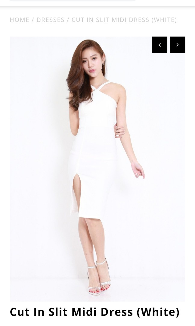 f99052d6e795 Carrislabelle Cut In Slit Midi Dress (Nude), Women's Fashion ...