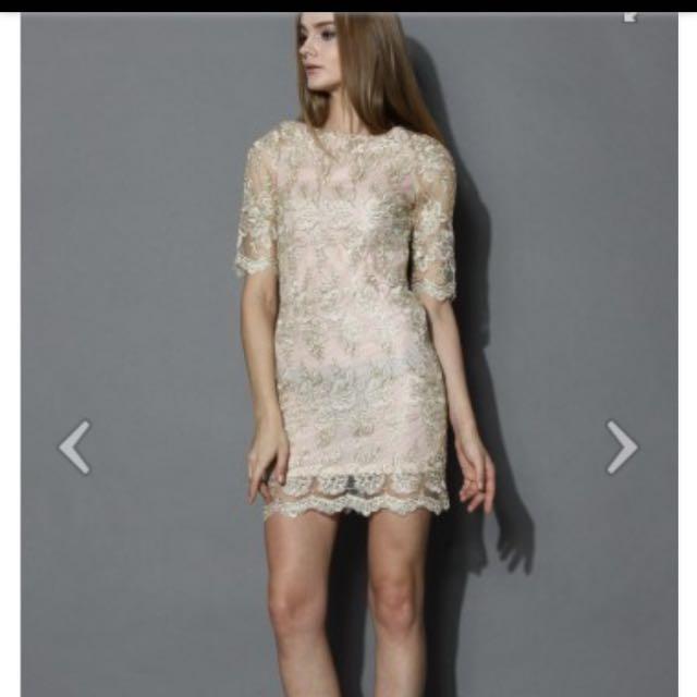 6b034fbd9b10 Chicwish golden lace embroider bodycon dress xs 連身裙金色裙 ...