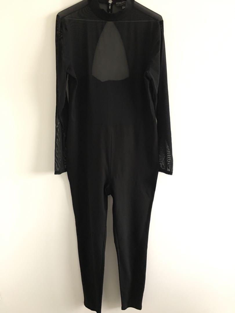 Forever 21 Black Mesh Jumpsuit