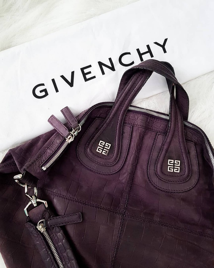 b4d19f93588b Givenchy Nightingale Croc Nubuck in dark plum with silver hardware ...