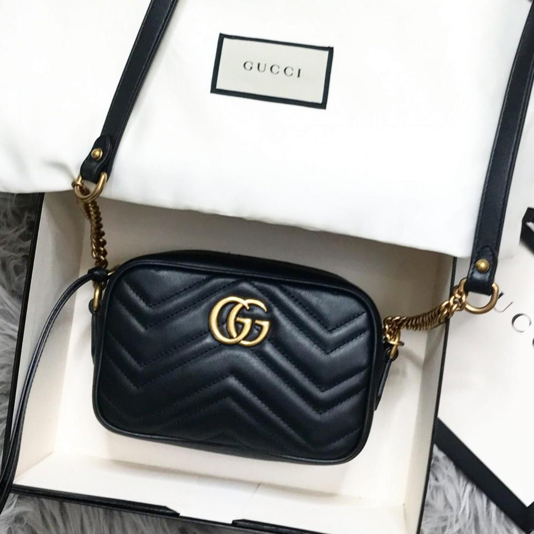 bf3a6139db15 Gucci GG Marmont crossbody sling mini bag (Black), Luxury, Bags ...
