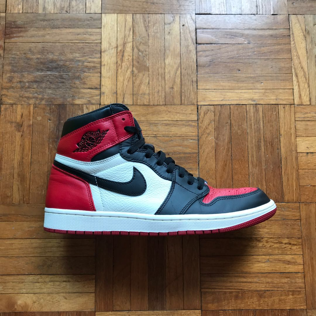 huge discount 4e69f 08ff4 Nike air Jordan 1 bred toe, Men s Fashion, Footwear, Sneakers on ...