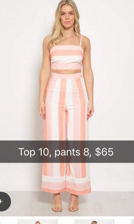 Pink stripe two piece set pants and top princess Polly