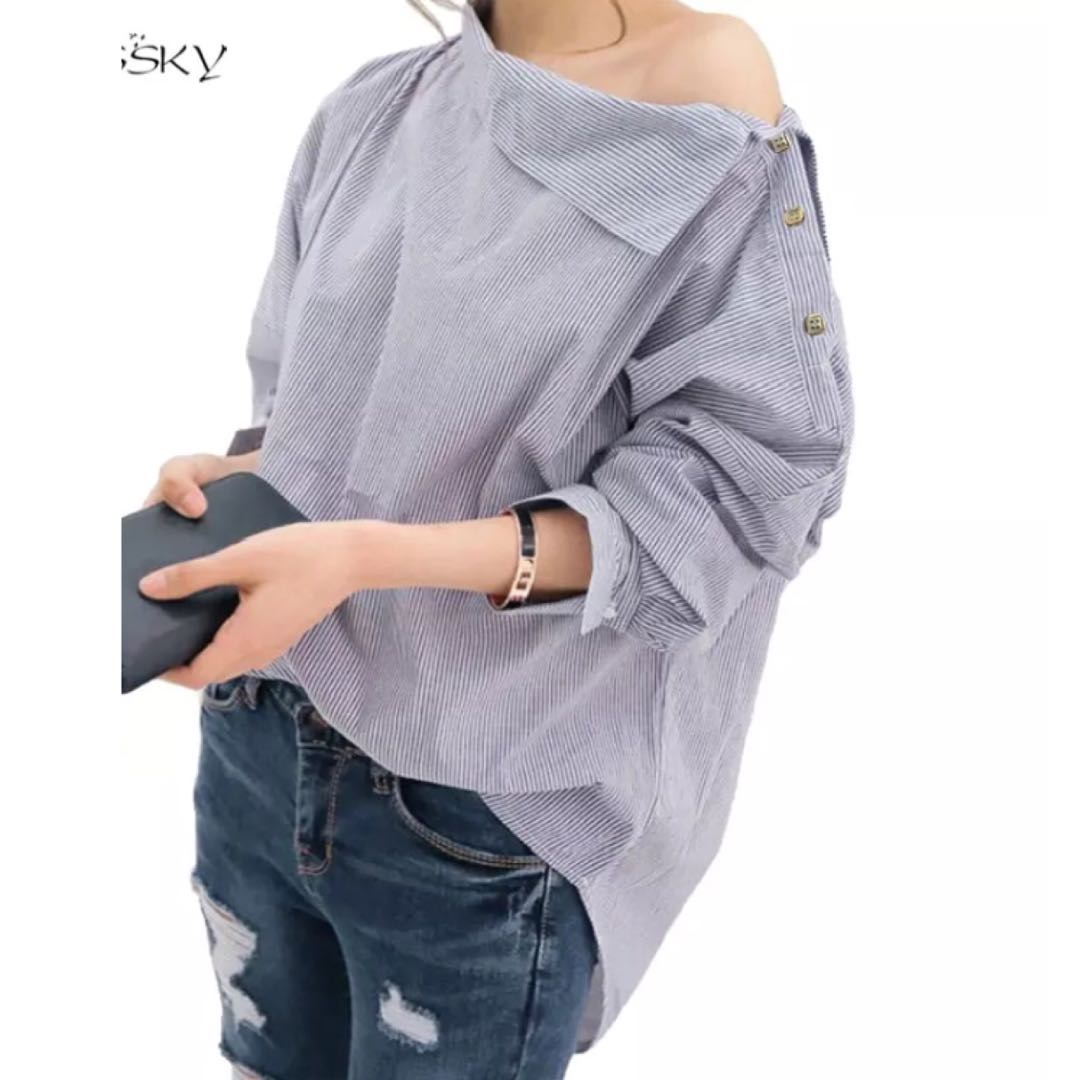bd95f72ca6995 PO) S-XXL Women Striped Blouses Sexy Long Sleeve Shirts Off Shoulder ...