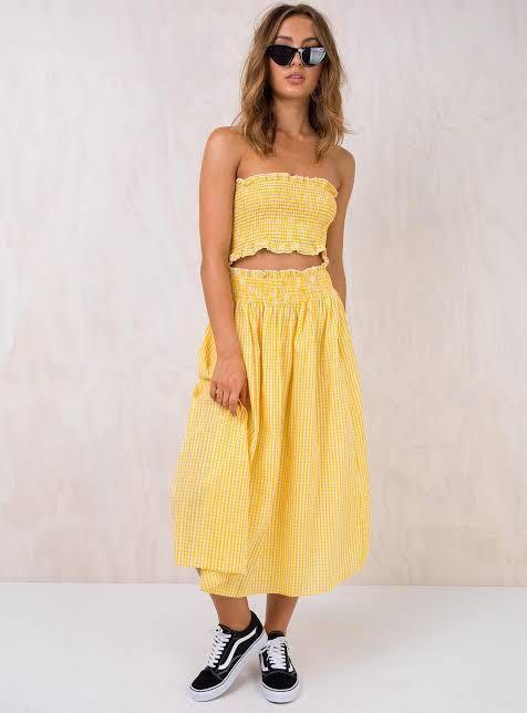 Princess Polly yellow check laguna two piece matching set
