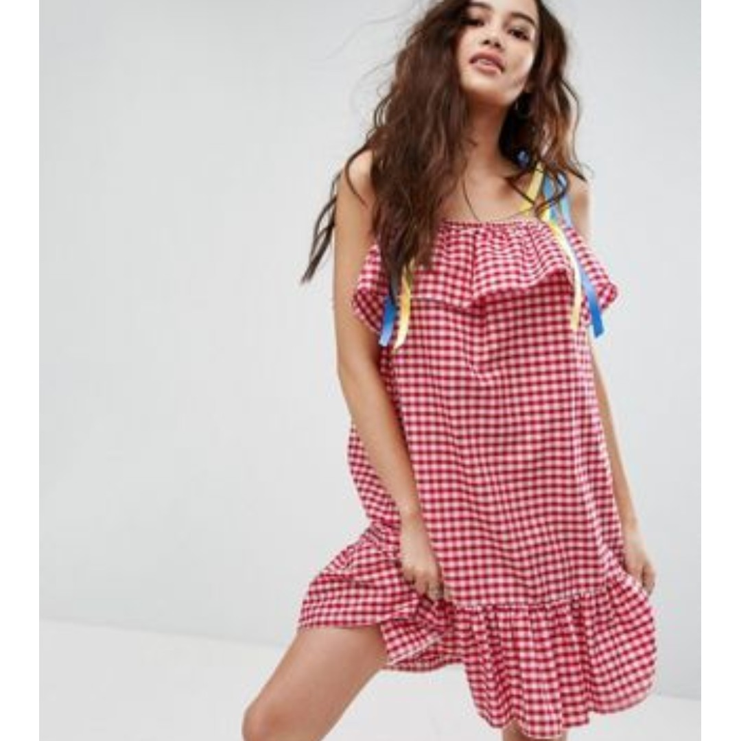 ed6d8abfaf0e Reclaimed Vintage Inspired Gingham Dress With Ribbon Tie Straps ...