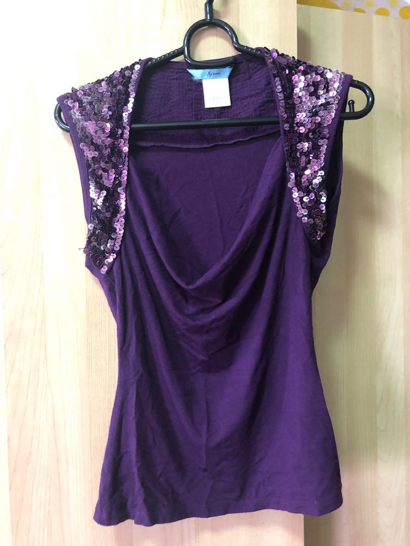 fa43cecc85b6 Sexy Guess Marciano purple sequins top, Women's Fashion, Clothes ...