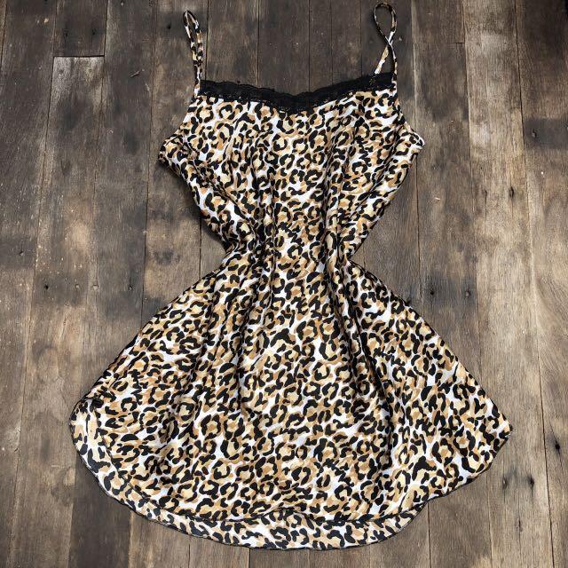 Vintage leopard slip dress