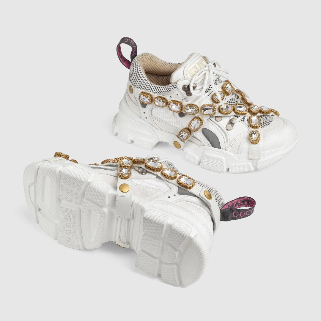 c404fbda3d4 White Leather Flashtrek sneaker with removable crystals