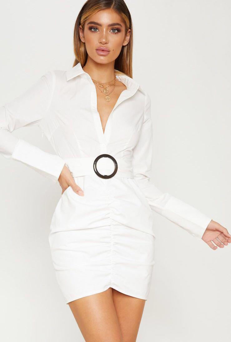 White plunge ruched tortoise belted bodycon shirt dress